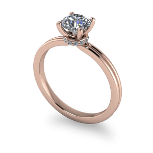 14kt rose gold sollitair with decorative setting