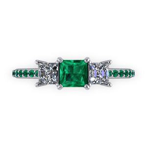 Three stone ring with diamonds shoulders