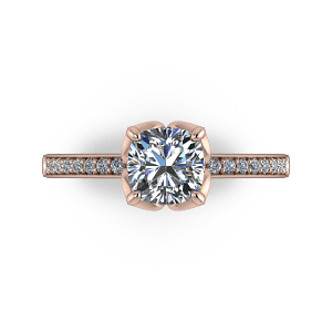 Cushion-cut-flower-ring