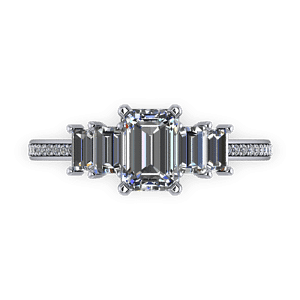 Five stone emerlad cut diamond ring