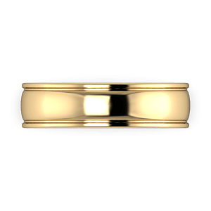 6mm yellow gold band with grooves