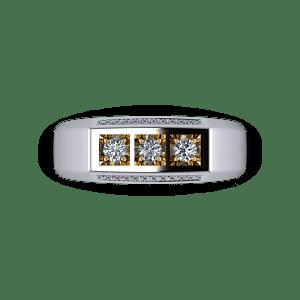 Mens diamond and mixed metal signet ring