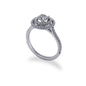 Modern Round Brilliant Cut Double Halo Ring
