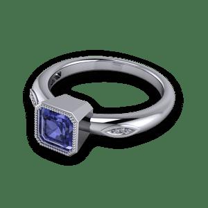 Tanzanite Ascher cut engagement ring