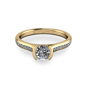 Yellow gold diamond set bezel ring