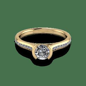 Yellow gold diamond set bezel ring