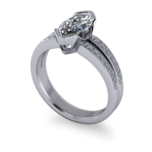 Marquise and princess cut diamond ring