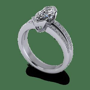 Marquise and princess cut diamond ring