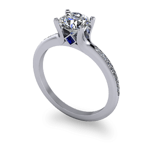 Diamond ring with hidden sapphire