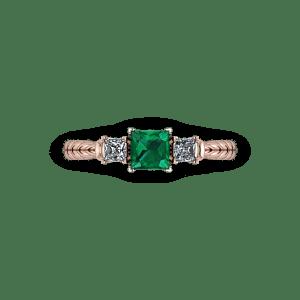Rose gold princess 3 stone ring