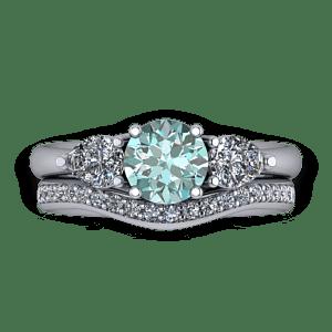 Blue diamond pear stone ring set