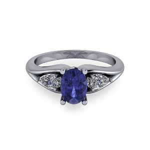 Oval tanzanite trilogy ring