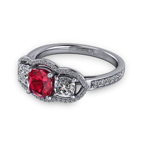 Ruby halo trilogy ring