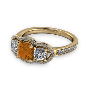 Cognac diamond unique halo engagement ring