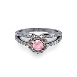Pink morganite plit shank halo engagement diamond ring