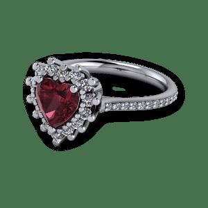 Antique Vintage Garnet and platinum heart engagement ring