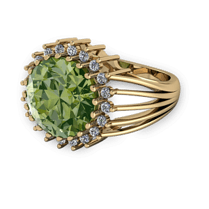 Green tourmaline and diamond bold vintage dress ring