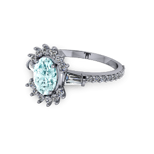 Aquamarine unusual vintage diamond platinum engagement ring