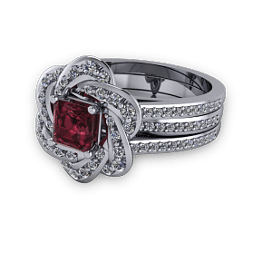 White Gold and ruby unique halo engagement ring set