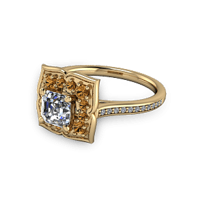 Gold flower style vintage golden sapphire engagement ring