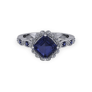 Vintage radiant cut sapphire and diamond halo ring