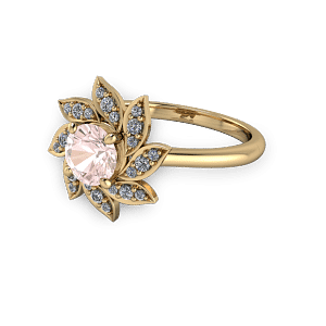 Gold pink and diamond flower style engagement ring