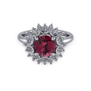 White gold Ruby and diamond unique bezel halo engagement ring