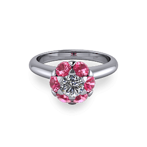 White gold and pink sapphire small halo solitaire ring