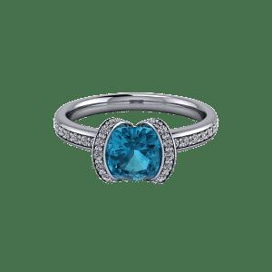 White gold blue topaz and diamond bespoke half halo engagement ring