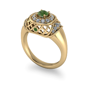 Arabian style vintage gold and peridot dress ring