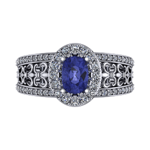Oval tanzanite filligree commitment platinum ring