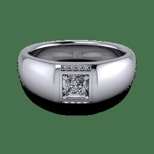 Chunky mens diamond signet ring