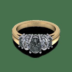 Black diamond mixed metal commitment ring