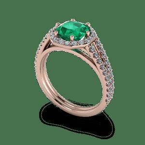 Radiant cut emerald rose gold diamond halo commitment ring