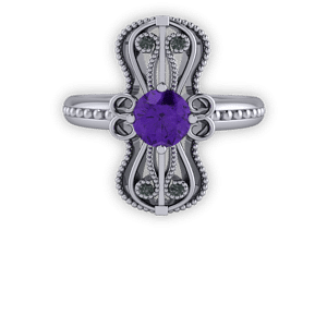 Gothic, Amethyst and black diamond, Platinum, Statement ring, Milgrain