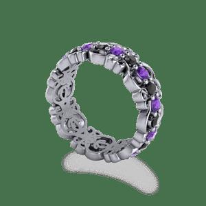 Eternity ring, Amethyst and black diamonds, filigree, wedding band, multistone