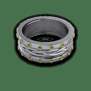 sculptured band, emerald wedding ring, bezel set stones, mixed metals, custom band
