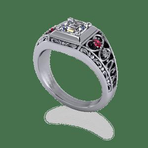 Gothic, rubies, ascher diamond, filigree
