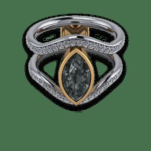 Marquise Gothic, black diamond, mixed metal, Bezel set