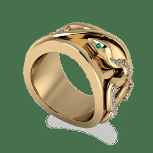 snake ring, mens ring, organic, yellow gold