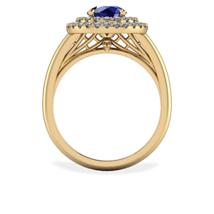 yellow gold, skull, spider web, sapphire, double halo