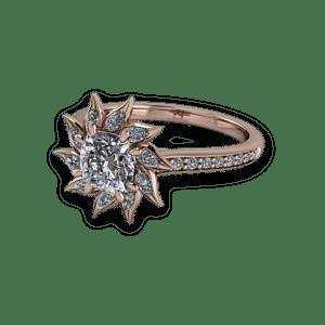 rose gold, cushion cut, diamond, cathedral shank, ballerina