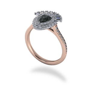 mixed metal, black diamond, double halo, cathedral shank, diamond shoulders