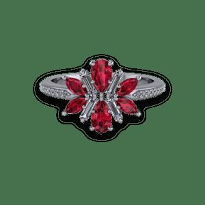 Ruby, Diamond, Floral, Platinum,
