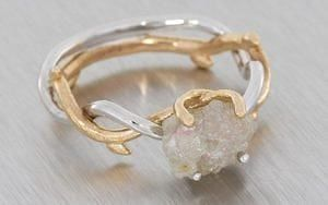 Organic Platinum And Rose Gold Intertwined Ring With A Rough Diamond - Portfolio