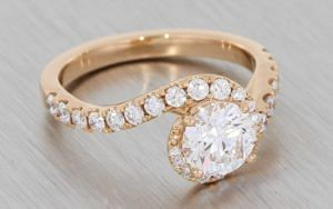 Rose Gold Scallop Set Bypass Diamond Halo Engagement Ring – Portfolio