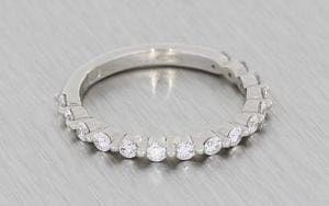 Shared prong Bezel set Diamond wedding band - Portfolio